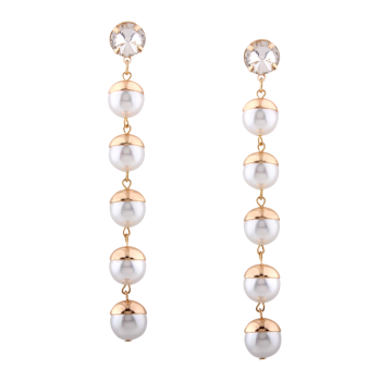 Artificial Pearl Rhinestone Long Drop Earrings