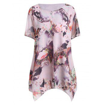 Asymmetrical Floral Print Layered Plus Size Blouse