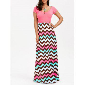 Raglan Sleeve Chevron Print Maxi Dress