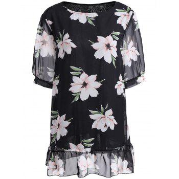 Plus Size Flounced Floral Blouse