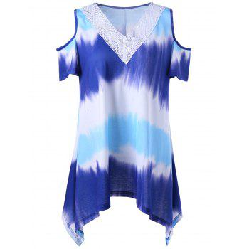 Plus Size Asymmetrical Tie Dye Cold Shoulder T-Shirt - COLORMIX COLORMIX