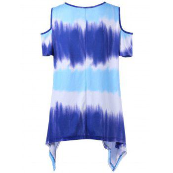 Plus Size Asymmetrical Tie Dye Cold Shoulder T-Shirt - COLORMIX 5XL