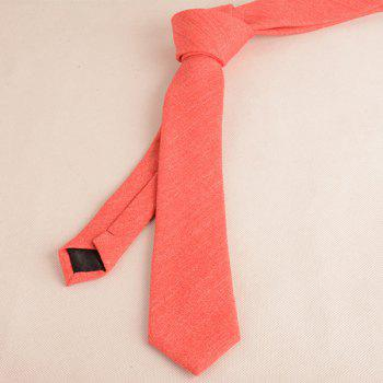 Plain Fabric Grain Tie and Handkerchief -  RED
