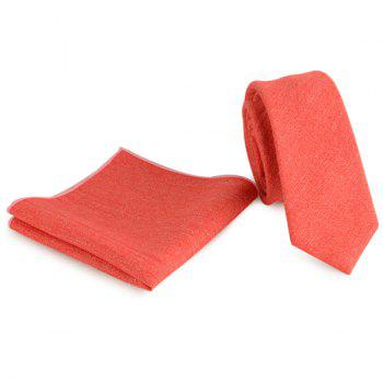 Plain Fabric Grain Tie and Handkerchief - RED RED