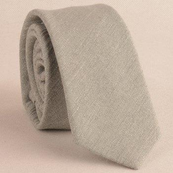 Plain Fabric Grain Tie and Handkerchief -  LIGHT GRAY