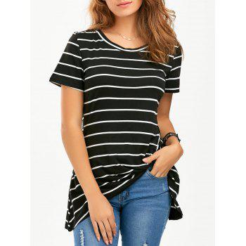 Striped Front Knot Longline T-Shirt