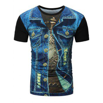 Distressed Denim Jacket 3D Print T-Shirt