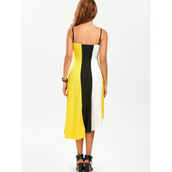 Color Block A Line High Low Slip Sundress - YELLOW YELLOW