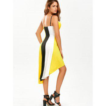 Color Block A Line High Low Slip Sundress - YELLOW L
