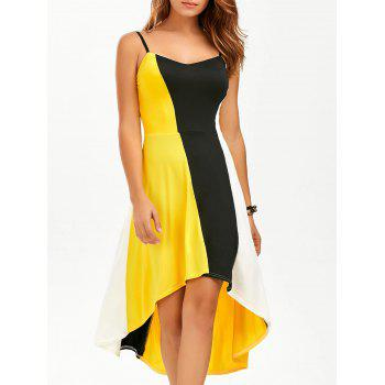 Color Block A Line High Low Slip Sundress - YELLOW XL