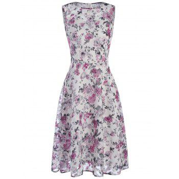 Chiffon Tea Length Junior Casual Dress with Tiny Floral Print