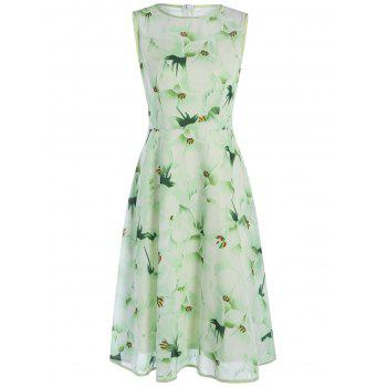 Chiffon Sleeveless Junior Casual Swing Dress with Flower Print
