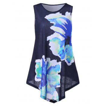 Plus Size Floral Print Asymmetrical Top - PURPLISH BLUE PURPLISH BLUE