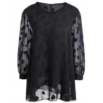 Plus Size Long Sleeve Semi Sheer Lace Blouse
