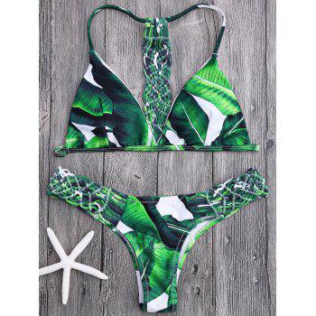 Crochet Panel Palm Leaves Bikini Set