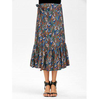 Chiffon Overall Print Mermaid Wrap Skirt