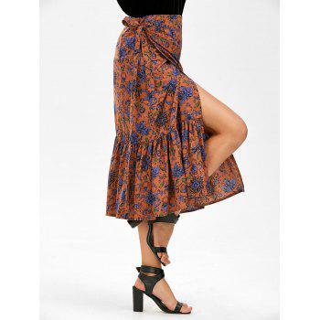 Chiffon Floral Print Mermaid Wrap Skirt