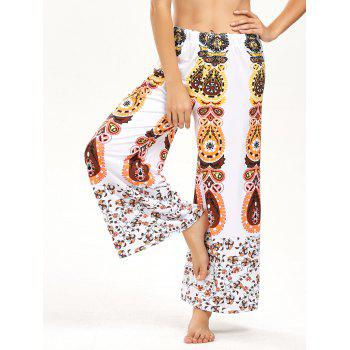 High Waisted Floral Print Wide Leg Pants