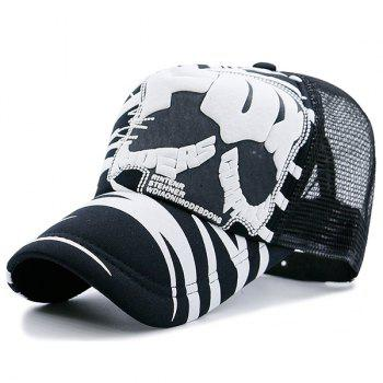 Mesh Splicing Skull Stripe Breathable Hat