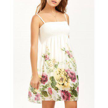Shirred Floral Print Slip Dress