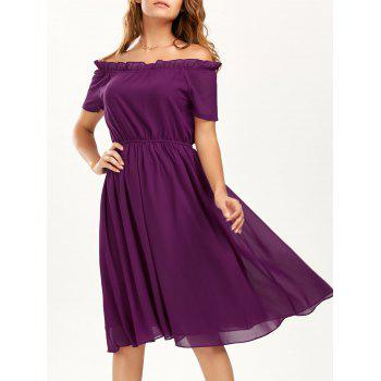 Ruffle Off The Shoulder Chiffon Dress