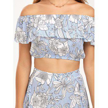 Ruffle Top with Tube Top with Skirt - BLUE S