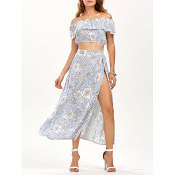 Ruffle Top with Tube Top with Skirt - BLUE L