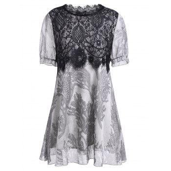 Lace Panel A Line Plus Size Mini Dress - GRAY GRAY