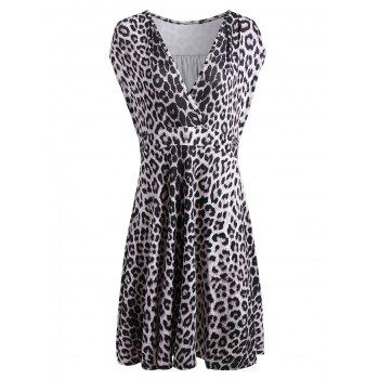 Plus Size Sleeveless V Neck Leopard Surplice Dress