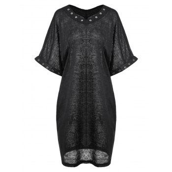 Plus Size Metal Evelet Embellished T-Shirt Dress