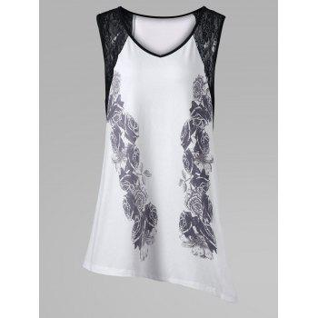 Plus Size Lace Insert Asymmetric Sleeveless T-Shirt