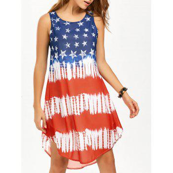 American Flag Print Chiffon Tank Dress