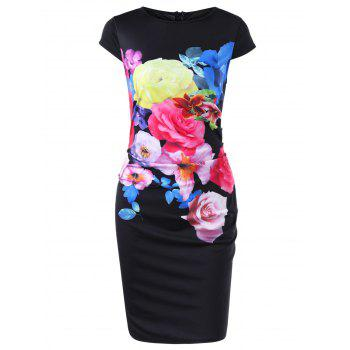 Floral Cap Sleeve Bodycon Pencil Dress