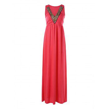 Rivet Decorated Sleeveless Long Formal Evening Dress