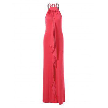 Chains Decorated Drape Front Long Formal Evening Dress