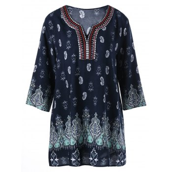 Plus Size Paisley Embroidery Bohemian Blouse