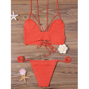 Crochet Lace Up Strappy Bikini Set