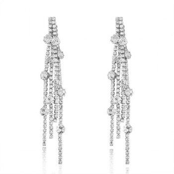 Alloy Rhinestoned Fringed Chain Earrings