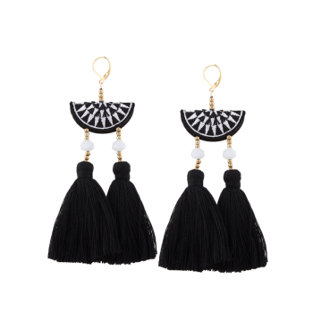Ethnic Geometric Embroidery Beads Tassel Earrings