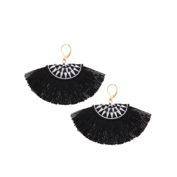 Fan-Shaped Embroidery Tassel Ethnic Earrings