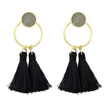 Metal Circle Tassel Drop Earrings