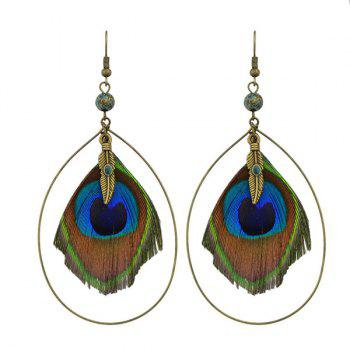 Peacock Feather Teardrop Hook Earrings