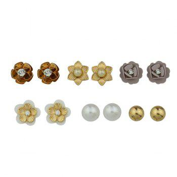 Rhinestone Faux Pearl Flower Stud Tiny Earring Set