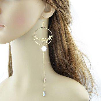 Extra Long Chain Circle Bird Hook Earrings