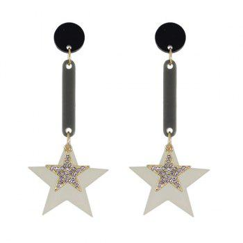 Rhinestone Double Star Circle Earrings