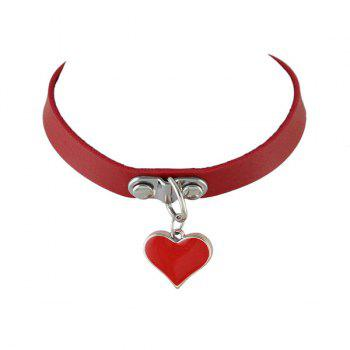 Artificial Leather Love Heart Choker Necklace