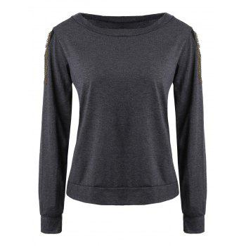 Trendy Long Sleeve Jewel Neck Solid Color T-Shirt For Women