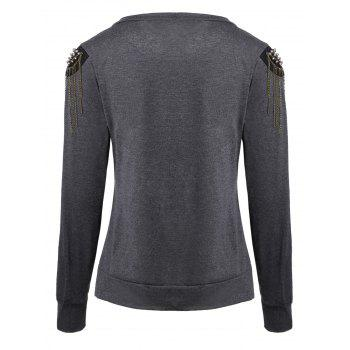 Trendy Long Sleeve Jewel Neck Solid Color T-Shirt For Women - GRAY XL