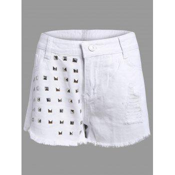 Studed Frayed Denim Shorts