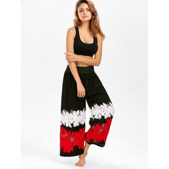 High Waisted Printed Wide Leg Pants - BLACK ONE SIZE